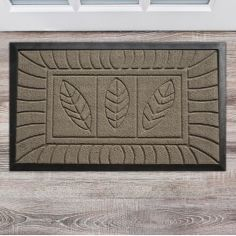 Feuilles Embossed Rectangular Door Mat - Black
