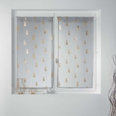 Samba Metallic Pineapples Voile Blind Pair with Tab Top - Grey Gold