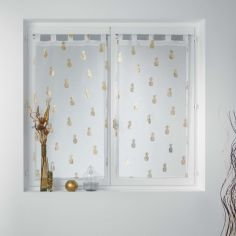 Samba Metallic Pineapples Voile Blind Pair with Tab Top - White Gold