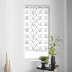 Lagune Geometric Light Filtering Roller Blind - White Grey
