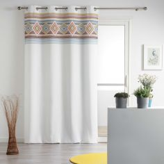 Luisa Geometric Eyelet Unlined Curtain Panel - White