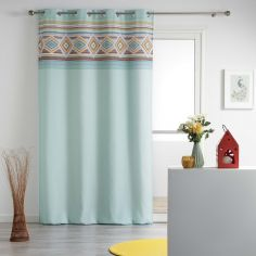 Luisa Geometric Eyelet Unlined Curtain Panel - Mint Blue