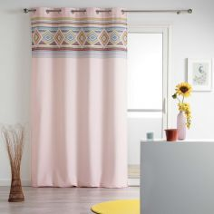 Luisa Geometric Eyelet Unlined Curtain Panel - Rose Pink