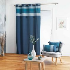 Lanseria Striped Pom Pom Top Unlined Eyelet Curtain Panel - Blue