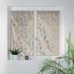Kolza Metallic Leaf Voile Blind Pair with Tab Top - Grey Gold