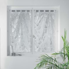 Kolza Metallic Leaf Voile Blind Pair with Tab Top - White Silver Grey