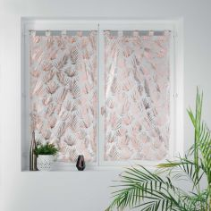 Kolza Metallic Leaf Voile Blind Pair with Tab Top - White Rose Pink