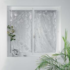 Kolza Metallic Leaf Voile Blind Pair with Tab Top - Silver Grey