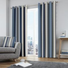 Whitworth Striped Fully Lined Eyelet Curtains - Blue