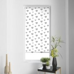 Piccolino Hearts Metal Print Roller Blind - Silver Grey