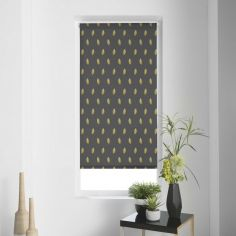 Verdura Leaves Metal Print Roller Blind - Charcoal Grey
