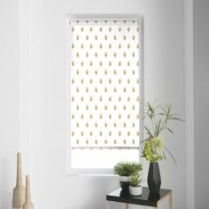 Verdura Leaves Metal Print Roller Blind - White