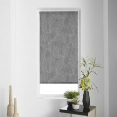 Batik Leaves Japanese Print Roller Blind - Grey