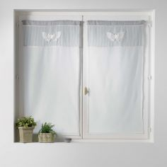 Sandrena Embroidered Butterfly Voile Blinds Pair with Slot Top - Light Grey