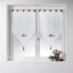 The Gourmand Voile Blind Pair with Tab Top - Red White