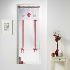 The Gourmand Straight Voile Tie Blind with Tab Top - Red White