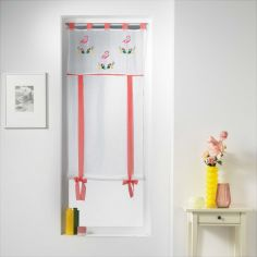 Camargue Flamingo Floral Straight Voile Tie Blind with Tab Top - Pink