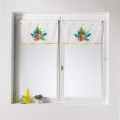 Pina Colada Pineapples Floral Voile Blind Pair with Slot Top - Yellow Multi