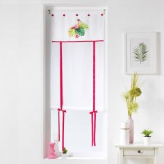 Flamingo Rosa Straight Voile Tie Blind with Slot Top - Pink Multi