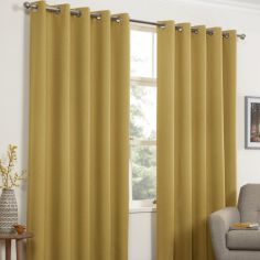 Linen Look Textured Thermal Blockout Ring Top Curtains - Ochre Yellow