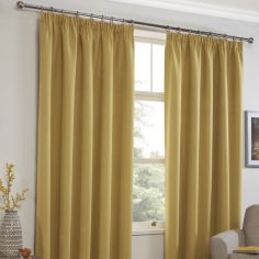 Linen Look Textured Thermal Blockout Tape Top Curtains - Ochre Yellow