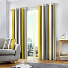 Wentworth Striped Eyelet Ring Top Fully Lined Curtains - Ochre Yellow