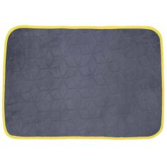 Kendo Plain Velvet Rug - Charcoal Grey & Yellow