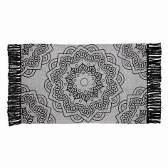 Printed Cotton Tassled Popika Floral Rug - Black