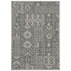 Mindila Woven Circles Checked Rug - Natural
