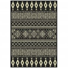 Babel Viscose Woven Geometric Vintage Rug  - Black