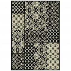 Manoir Viscose Floral Rug - Black