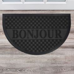Bonjour Embossed Rectangular Door Mat - Black