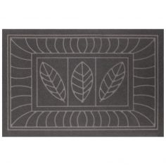 Feuilles Embossed Rectangular Door Mat - Grey