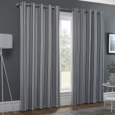 Striped Eyelet Ring Top Thermal Blockout Curtains - Black