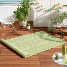 Azimut Geometric Aztec Indoor Outdoor Rug - Green