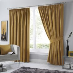 Dijon Thermal Blackout Tape Top Curtains - Ochre Yellow