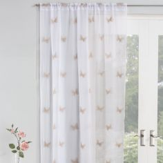 Butterfly Embroidered Voile Curtain Panel - Natural
