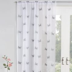 Butterfly Embroidered Voile Curtain Panel - Silver Grey