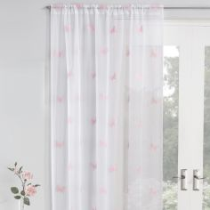 Butterfly Embroidered Voile Curtain Panel - Blush Pink