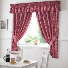 Gingham Check Kitchen Tape Top Curtains - Red