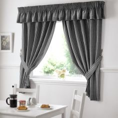 Gingham Check Kitchen Tape Top Curtains - Black