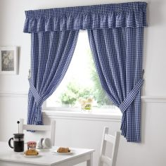 Gingham Check Kitchen Tape Top Curtains - Blue
