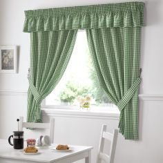 Gingham Check Kitchen Tape Top Curtains - Green