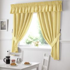 Gingham Check Kitchen Tape Top Curtains - Yellow