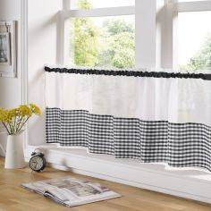 Gingham Check Cafe Net Curtain - Black