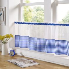 Gingham Check Cafe Net Curtain - Blue