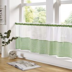Gingham Check Cafe Net Curtain - Green