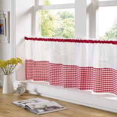 Gingham Check Cafe Net Curtain - Red
