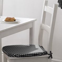 Gingham Check Tie On Seat Pad - Black