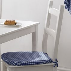 Gingham Check Tie On Seat Pad - Blue